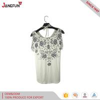 New Design Off Shoulder Custom Long sleeves T shirt For Woman