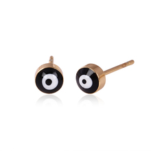 23017 simple daily wear gold earring designs evil eye light weight stud jewelry in cheap cost China wholesale 2017