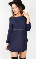 New design solid color front short and long back sweater dress wholesale lady winter dress