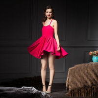 YIGELILA 2015 Rose Red Fashion Cross Straps Backless Short Cocktail Dress 6586