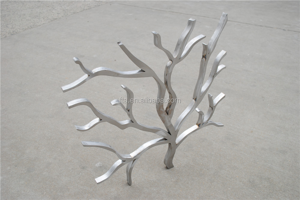 silvery powdercoated tree branches shape metal art steel art
