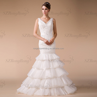 HM96859 Distributor Hot Sale New Arrival Tassel White Organza Wedding Gown