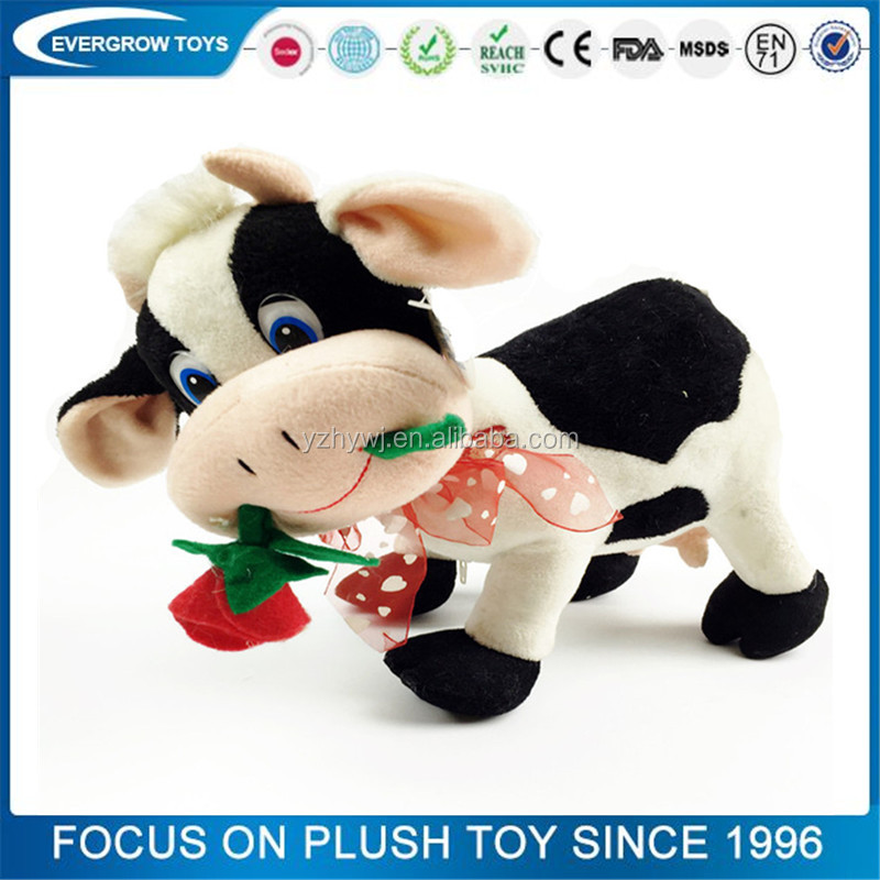 2016 hot cute cow with beautiful rose mika toys plush cow