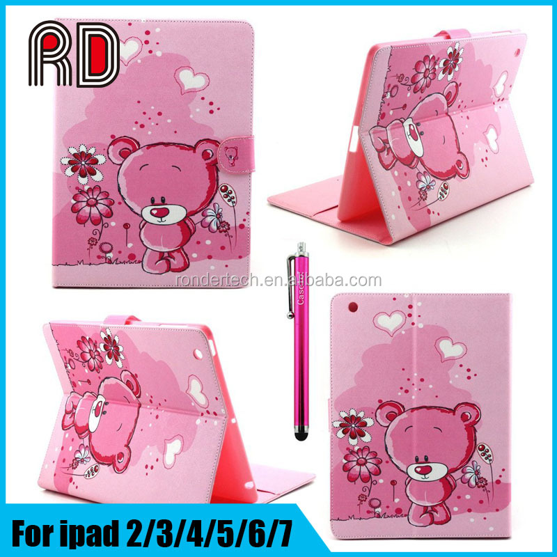 Explosion Models Lovely Painting ID Card Slot Flip Leather Stand Cover Case for Ipad 2/3/4