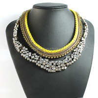 Wholesale PU leather wove crystal statement necklace Jewelry
