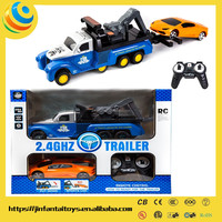 battery kids cars 2.4G rc tractor trailer trucks 360 ROTATION ELECTRIC TOY CAR WITH CAR