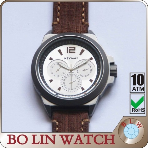 Italiy import genuine leather watch, luxury hand winding chronograph automatic watches for men