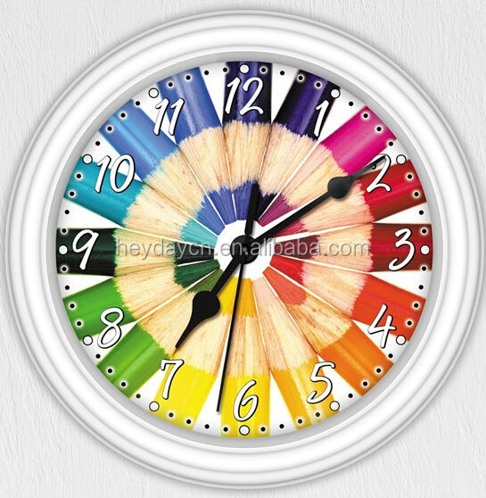 Colorful Colored Pencil Artist Decorative Wall Clock(HD -8015W)