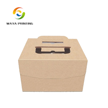 Brown Printed logo PVC window design cake box with handle
