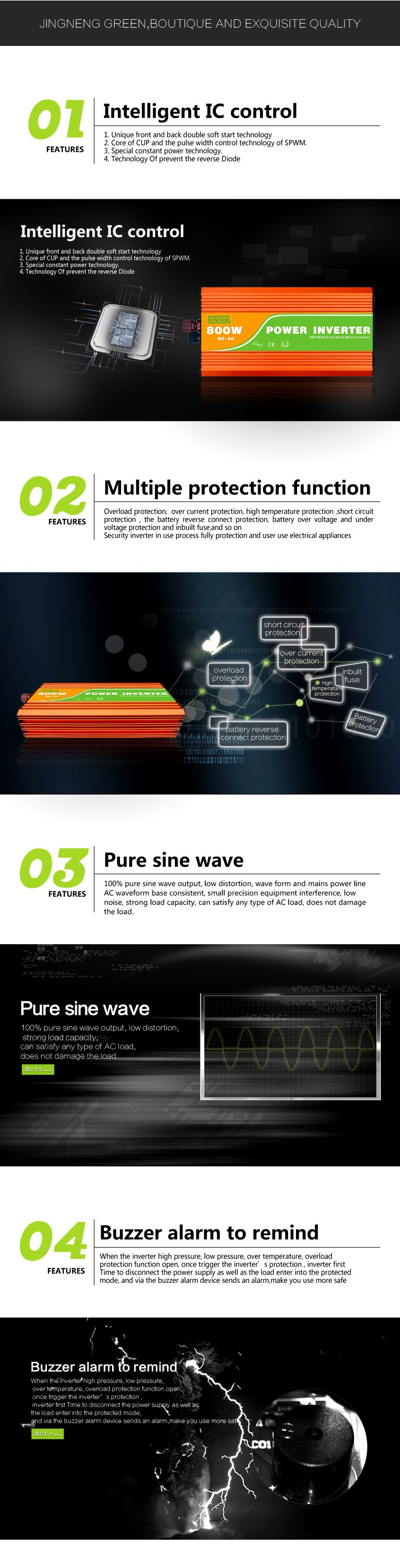 24v 800w High Frequency Pure Sine Wave off-grid solar inverter JN-H Series