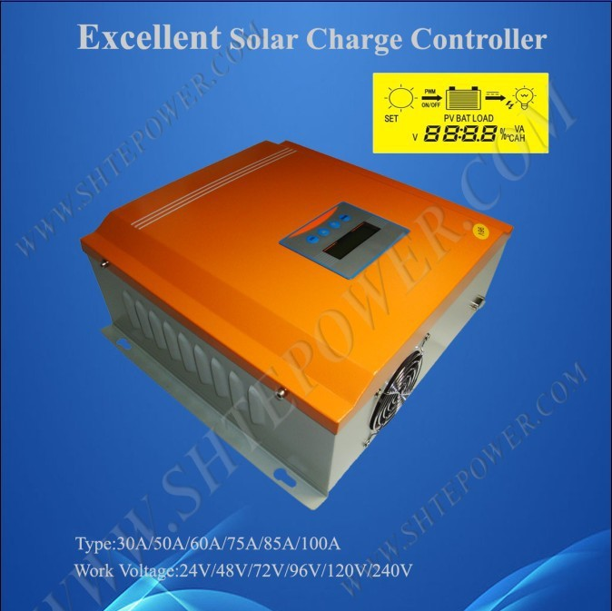 Parameter adjustable 3600w 48v 75A pwm solar charge controller