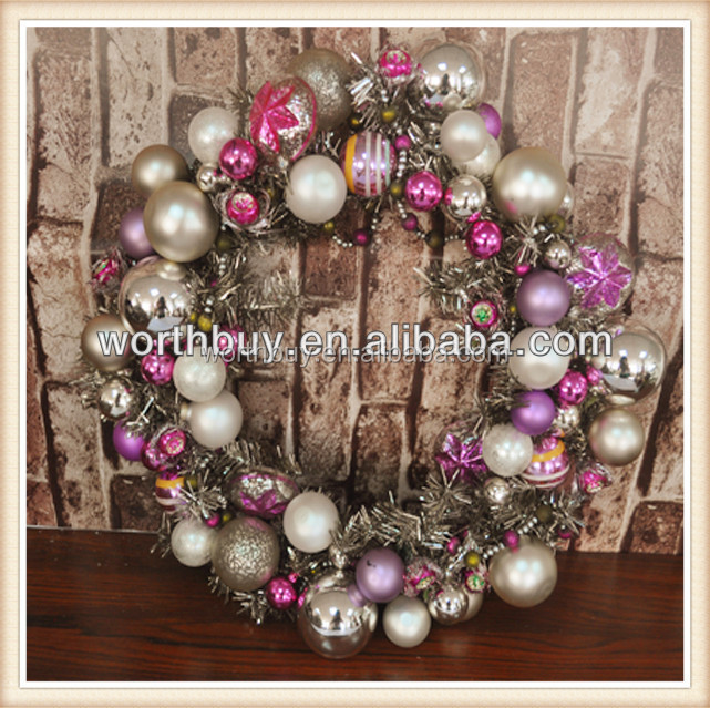 "8""8"" glass Christmas tinsel & bead decorated decorative wreaths for front door"