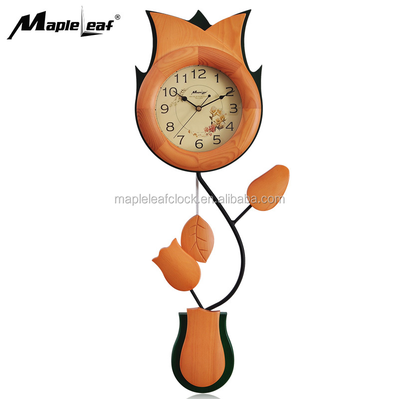 Beautiful Flower Shape decorate Gift <strong>Wooden</strong> Quartz Wall Clock