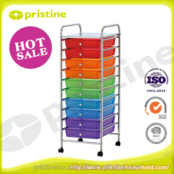 office home storage trolley cart colorful 10 tier plastic drawer with wheels