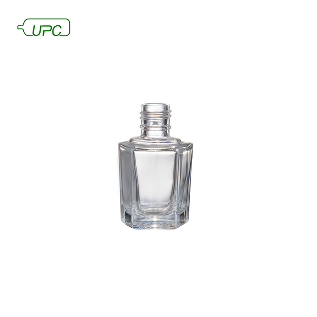 Fancy hexagonal recycled empty clear nail gel polish bottle