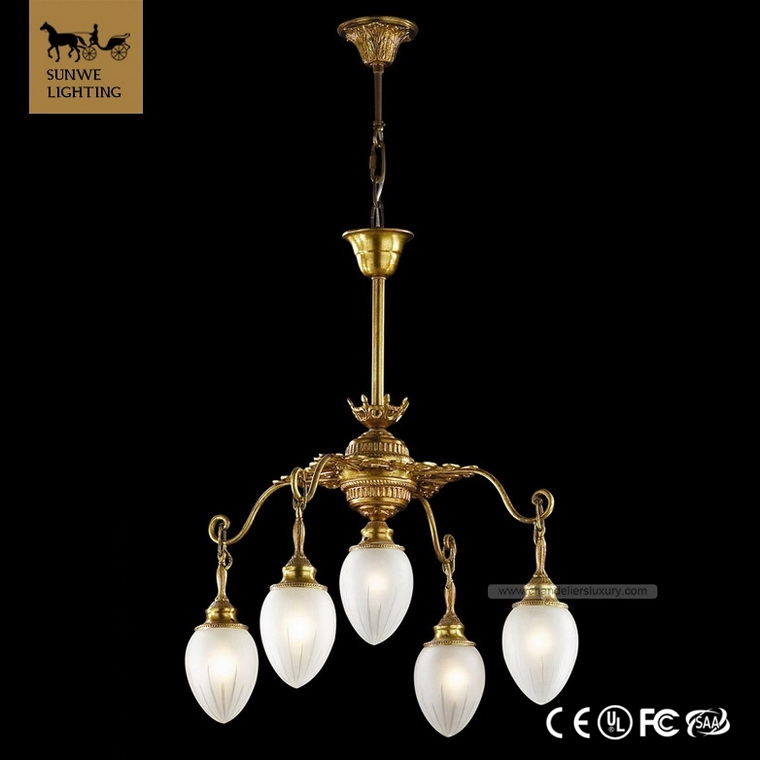 Famous brand Country Style 5 Lights White Bedroom Lampshade Bronze Glass Round Chandeliers
