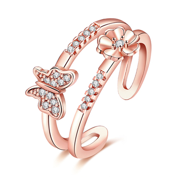 Latest design butterfly resizable silver rings jewelry for women