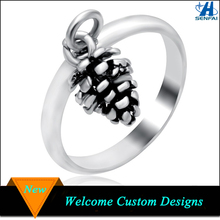 Ally Express Cheap Wholesale Metal Antique Silver 3D Pine Cone Ring For Women