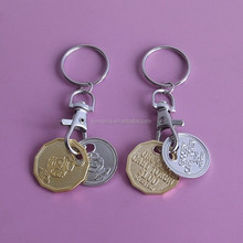 metal canadian grocey shopping cart token coin key chains, personalized two color plate canada trolley coin keyrings