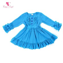 2017 Cotton Fabric Ruffle Blue One Piece Party Dress