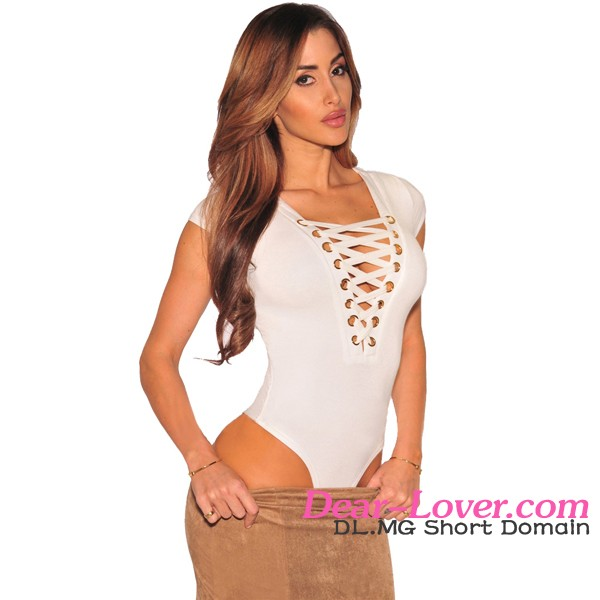 Apricot lace up cap sleeves womens bodysuit online shopping india clothes