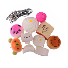 Custom Soft and mini Squishy toy kawaii bread donut hamburger keychain