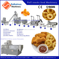 Crispy puffing corn snacks food production line extruder machine plant
