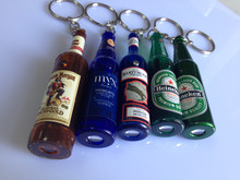 LED beer bottle shaped laser pointer keychain projection torchlight key ring