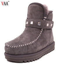CF-130 Free Samples Ankle Length Cow Suede And Lining Sheepskin Rivert Diamonds-encrusted Snow Boots For Boys