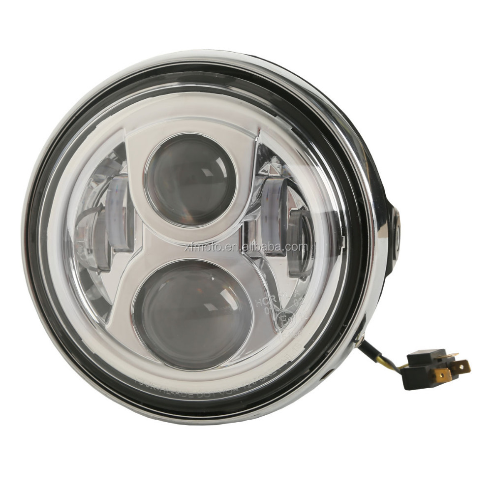 "12V 7"" Hi/lo Beam Round LED Headlight Lamp For Honda CB 400 500 1300 VTEC VTR250"