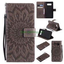 Hot Sale Embossed Sunflower Pu Leather Wallet Case For Samsung Galaxy Note8