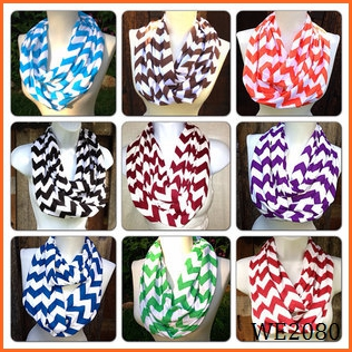 Popular New style colorful hot selling chevron wave infinity fashion scarf IN STOCK