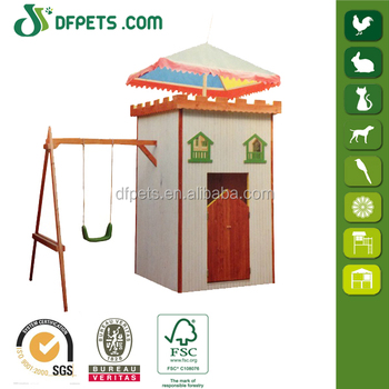Kids Wooden Cubby House Swing Set Climbing Play Gym DFP009