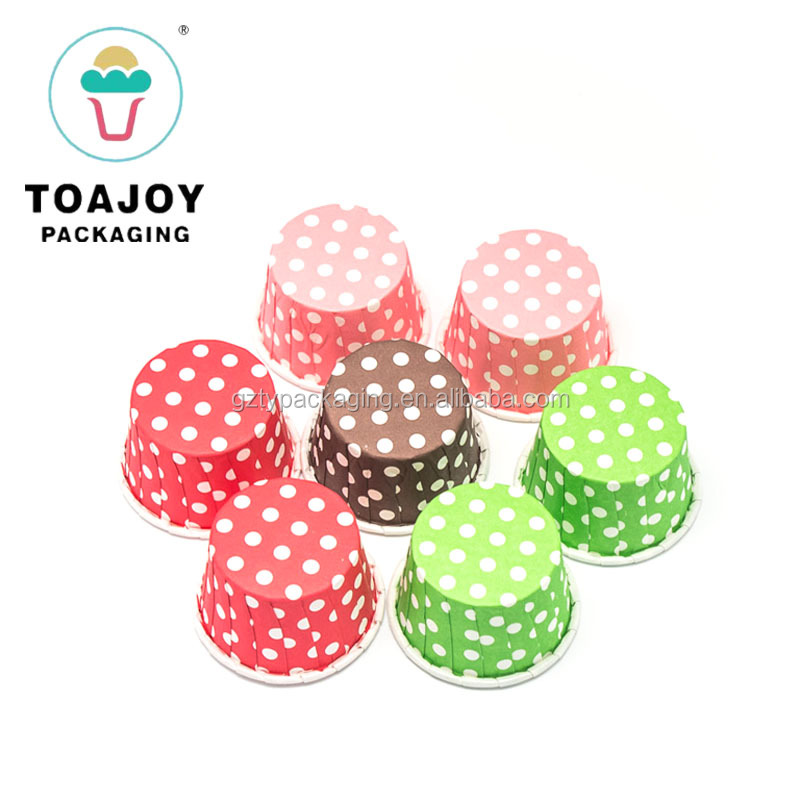 Colors Dots Mini Coated Baking Cases For Bakery