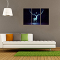 "Deer From the Darkness Photo Art Print Animal Picture Canvas Printing Room Decoration(24""x12""x3Pcs) Wholesale Ready to Hang"