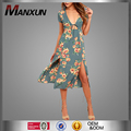 Summer Women Fashion Floral Print Midi Dress Latest Design Casual Dress For Lady
