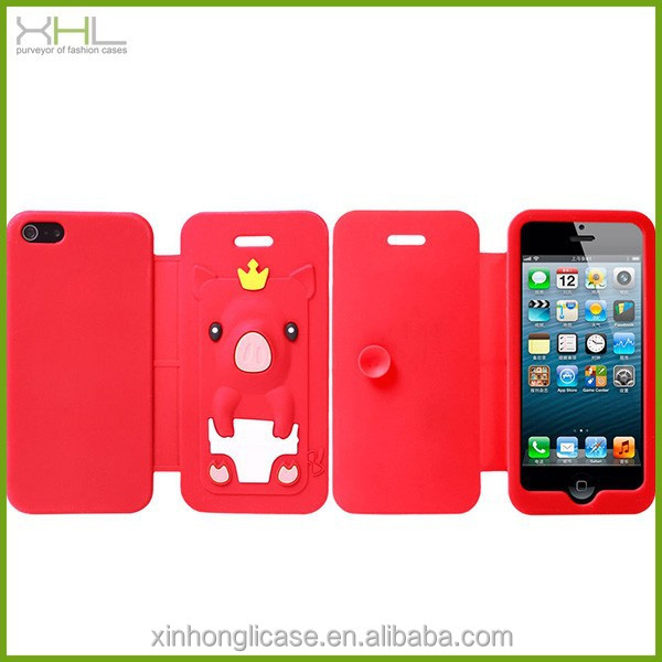 King Pig Silicon mobile phone case for iphone 5,for iphone 5 silicon flip cover case