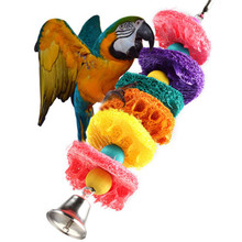 Newest Colorful Loofah Sponge Pet Bird Parrot Cage Macaw Cockatoo Cockatiel Conure Handmade Toy Plant Fibre Parrot Chew Toy