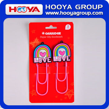 promotional decorative shaped jumbo PVC fancy paper clip bookmarker