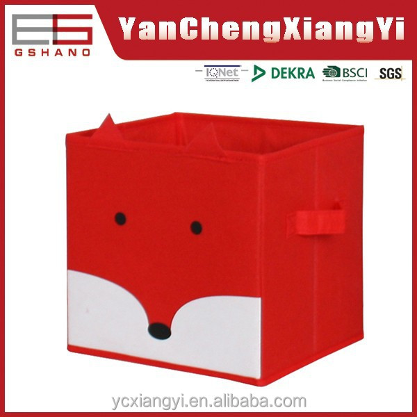 KBD-01 80gsm Non woven folded fox shape Customizing red Kids boxes storage and bins