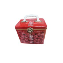 Printed tin box tin can with handle Whole Storage Can Lunch box with Handle