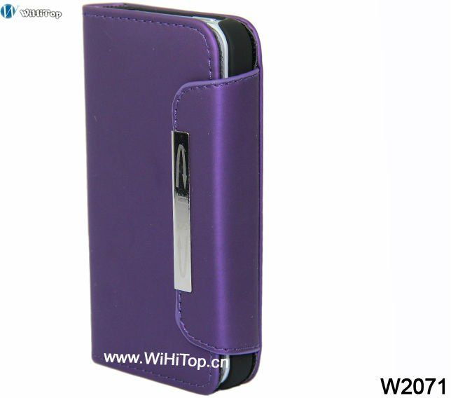 Purple Color Matte Finished High Quality PU Leather Case for iPhone 4 4S.Different Colors