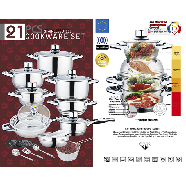 21Pcs Shinning bakelite material handle casserole stainless steel cookware set