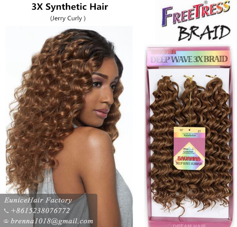 Good quality wholesale price freetress crochet braids 3x crochet box braids deep wave twist braiding hair freetress hair