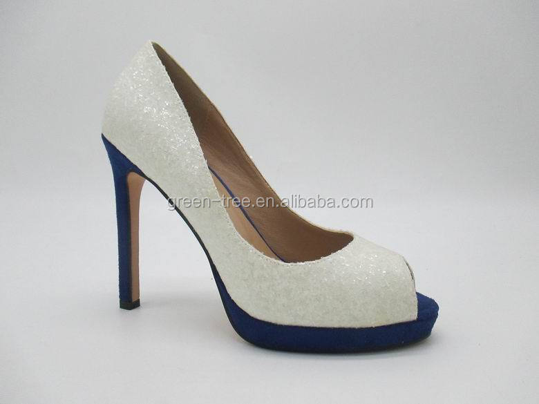 Peep toes white color high heel shoes women