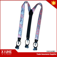fashion mens printed x shape suspenders belt with flower designs
