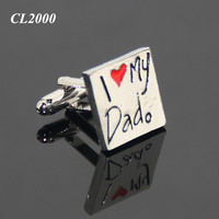 Sleeve Shirt Enamel Cufflinks For Thanksgiving Day Gifts Father's day I Love My Dad Silver Plated Metal Souvenir Cuff Links