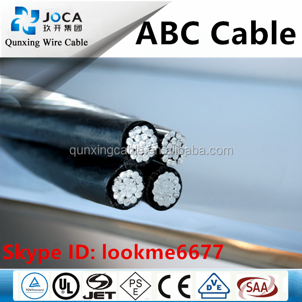 33kv abc aerial bundle cable PVC XLPE insulated AL conductor 4x95 mm2 ABC cable