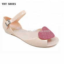 China Girls lovely flat Sandals summer children heart cute PVC Jelly Shoes