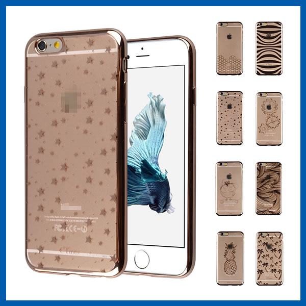 C&T Ultra-thin Slim Frame Phone Case TPU Electroplate Soft Case for Iphone 6S Gold